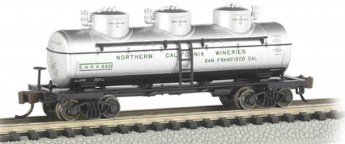Bachmann 17153 N Scale 3-Dome Tank Northern California Wineries